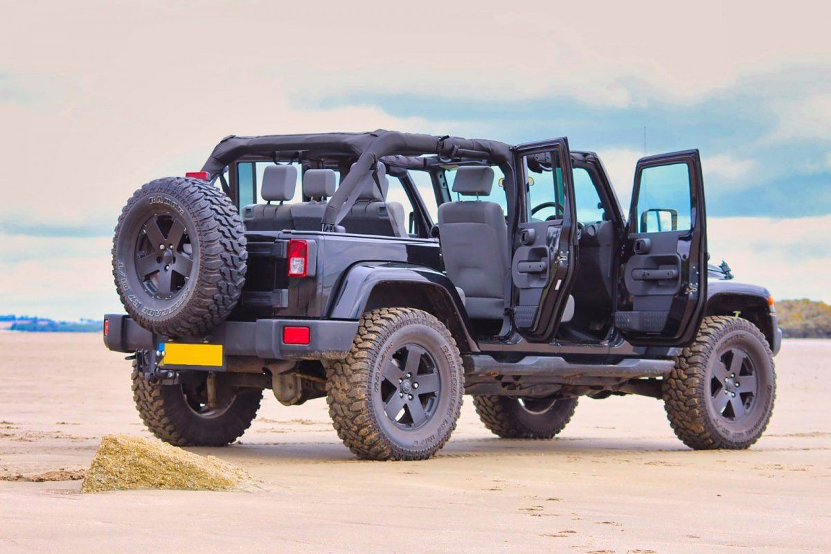 jeep on a beach